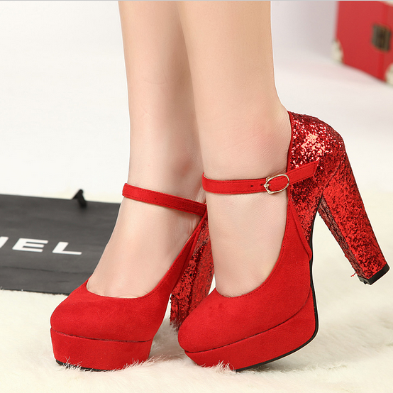 11cm super-elevation thick heel sexy red wedding shoes